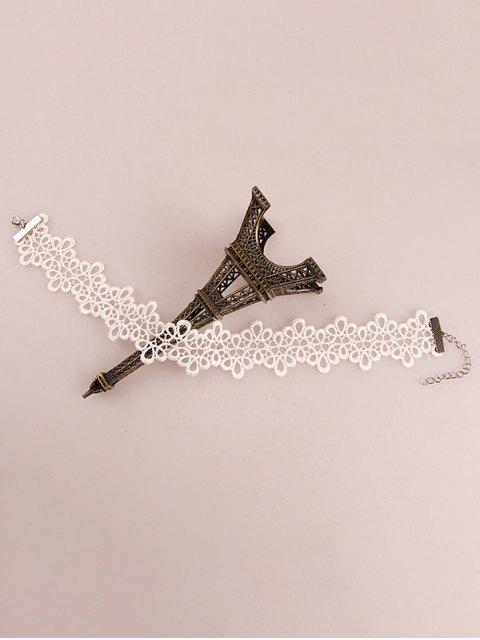 shop Crochet Flower Choker - WHITE GREY  Mobile