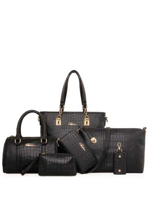 online Metal Letter Crocodile Print Shoulder Bag - BLACK  Mobile