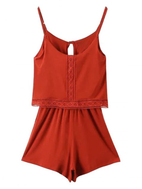 womens Lace Band Collarless Braces Playsuit - RED XS Mobile
