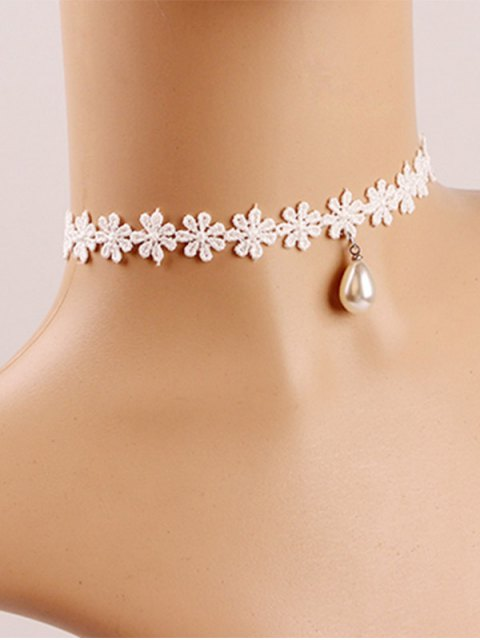 buy Faux Pearl Crochet Flower Choker - OFF-WHITE  Mobile