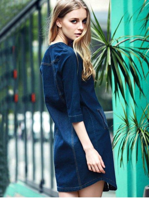 chic V-Neck 3/4 Sleeve Denim Dress - BLUE 2XL Mobile