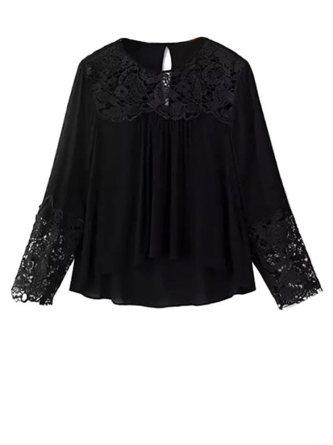 best Lace Splicing Round Neck Long Sleeve Blouse - BLACK S Mobile