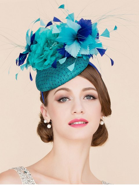 lady Stylish Flower Feather Fascinator Headband Wedding Banquet Party Pillbox Hat - LAKE BLUE  Mobile
