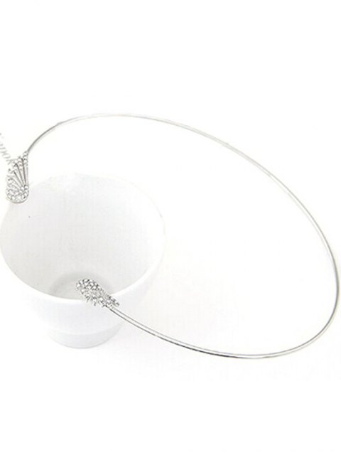 trendy Rhinestone Angel Wings Chokers Necklace - SILVER  Mobile
