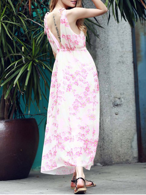 women Low Back Flower Print Flowing Dress - PINK S Mobile