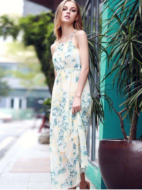 affordable Low Back Flower Print Flowing Dress - BLUE S Mobile