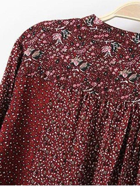 online Loose Floral Print V Neck Long Sleeve Shirt - RED XL Mobile