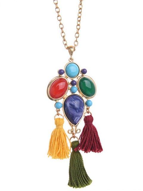 hot Faux Gem Tassel Pendant Necklace - GOLDEN  Mobile