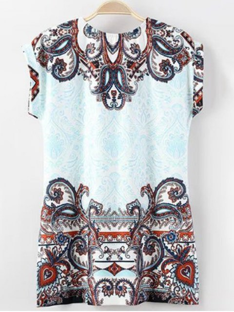 trendy Floral Print Round Neck Short Sleeve T-Shirt - BLUE S Mobile