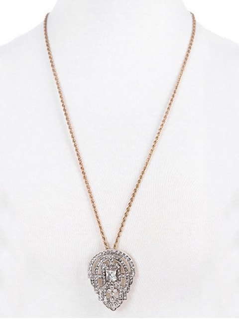 new Rhinestone Water Drop Multilayered Pendant Necklace - GOLDEN  Mobile