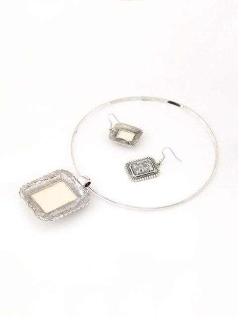 buy Retro Rectangle Turquoise Necklace and Earrings - GRAY  Mobile