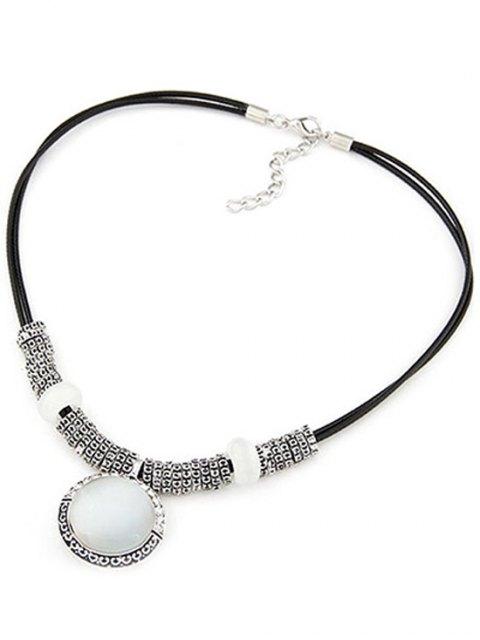 trendy Faux Gem Alloy Double-Deck Necklace - BLACK  Mobile