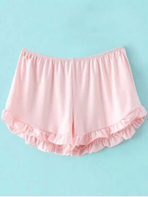women Solid Color Trimming Elastic Waist Shorts - PINK ONE SIZE(FIT SIZE XS TO M) Mobile