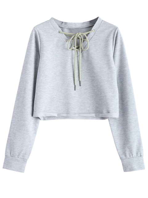 fancy Lace Up Cropped Sweatshirt - GRAY 2XL Mobile