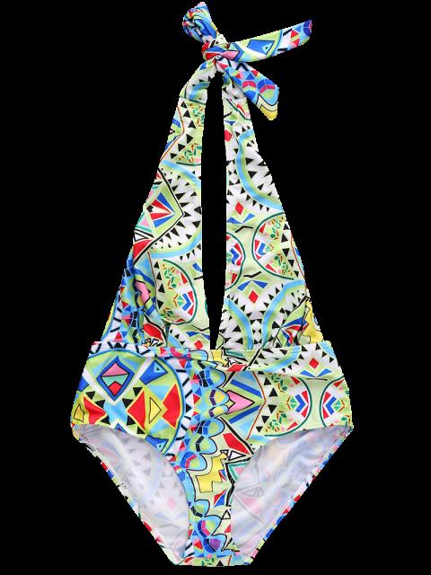 women's Geometric Pattern Plunging Neck One Piece Swimwear - COLORMIX XL Mobile
