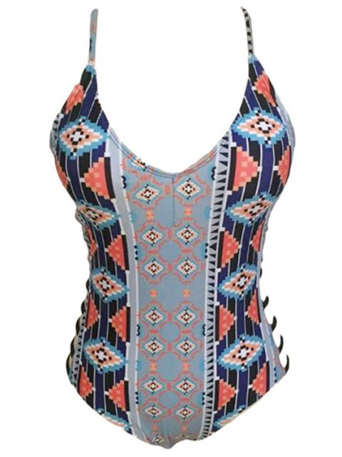 latest Geometric Print Spaghetti Straps One-Piece Swimwear - GRAY L Mobile