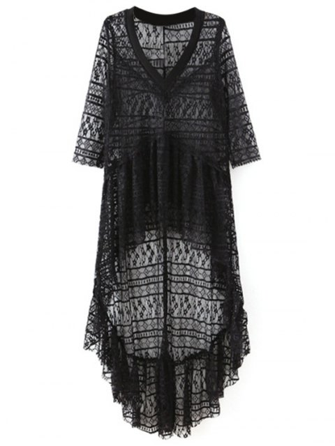 chic High-Low Hem V-Neck 3/4 Sleeve Lace Cover Up - BLACK L Mobile