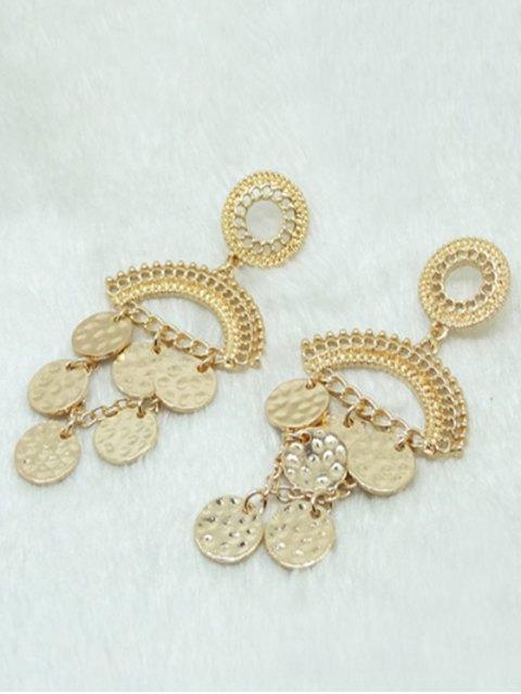 sale Round Piece Tassel Earrings - GOLDEN  Mobile
