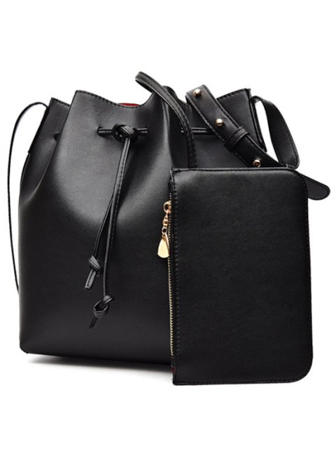 outfits Solid Color String PU Leather Crossbody Bag - BLACK  Mobile