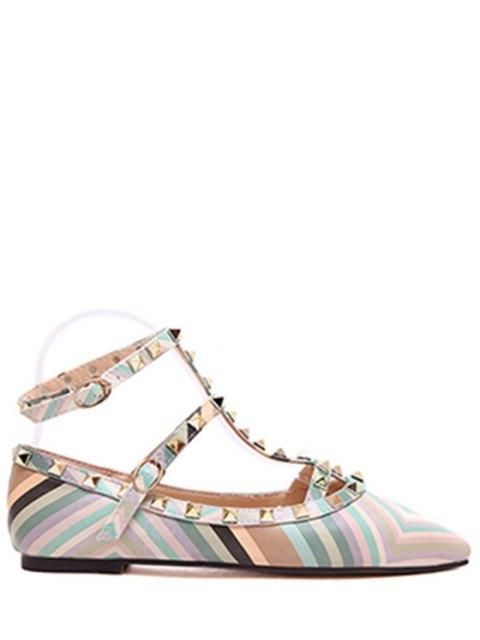 lady Rivet Strap Color Block Flat Shoes - GREEN 39 Mobile