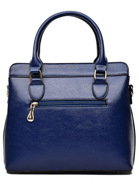 latest Pendant Solid Color PU Leather Tote Bag - BLUE  Mobile