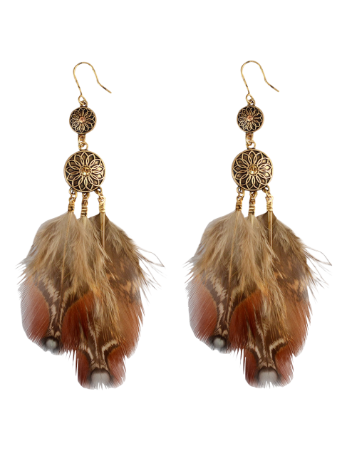 outfit Rhinestone Floral Feather Bohemian Drop Earrings -   Mobile