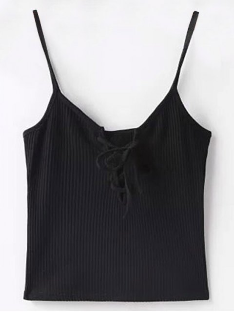 latest Solid Color Cami Lace Up Tank Top - BLACK S Mobile