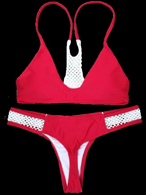 shop Mesh Panel High Leg Bikini - RED L Mobile
