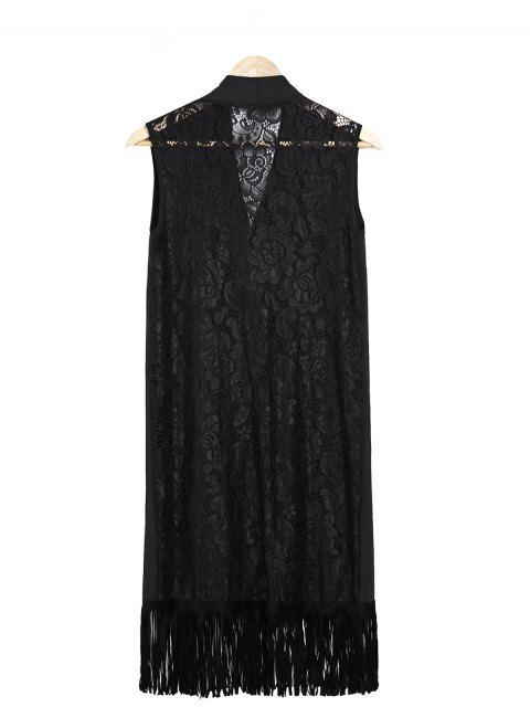 hot Lace Splice Black Collarless Waistcoat - BLACK ONE SIZE(FIT SIZE XS TO M) Mobile