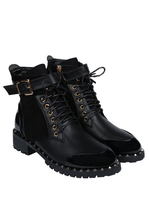 fancy Tie Up Splicing Rivets Ankle Boots - BLACK 39 Mobile