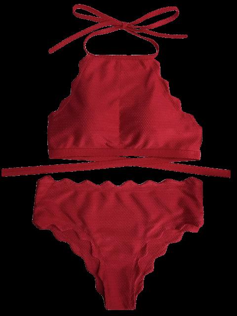 sale Scalloped High Neck Tie Back Bikini Swimwear - RED L Mobile