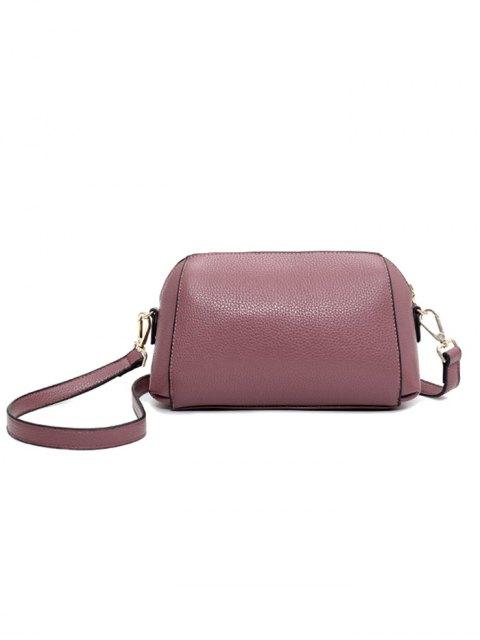 shops Solid Color Metal Letter Crossbody Bag - PINK  Mobile