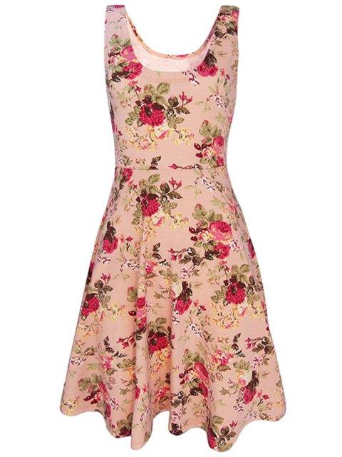 online Sleeveless Chiffon Flroal Flowing Dress - PINK S Mobile