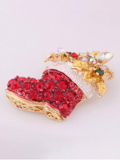 women's Rhinestone Adorn Christmas Boots Brooch -   Mobile