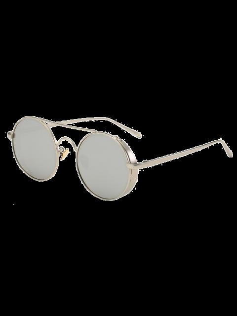 chic Crossbar Mirrored Round Sunglasses - SILVER  Mobile