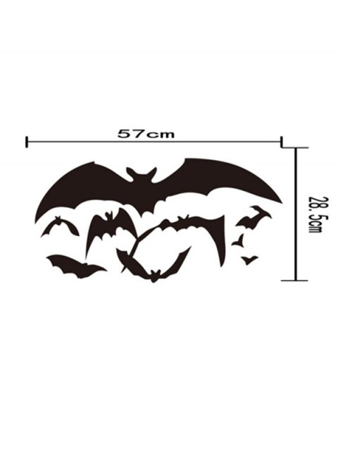 outfits Halloween Bat Pattern Removable Waterproof Room Wall Sticker - BLACK  Mobile