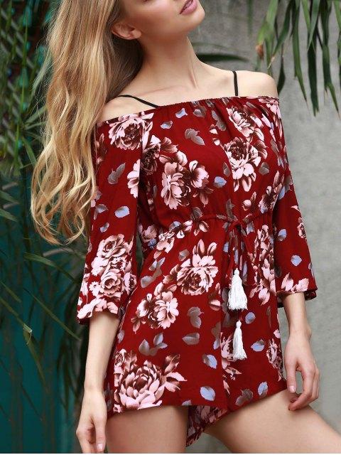 best Floral Print Off The Shoulder Playsuit - WINE RED XL Mobile