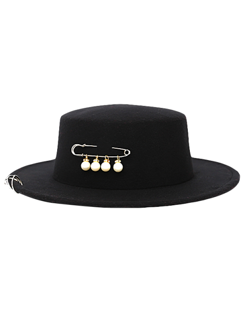 chic Circle Hoop Faux Pearl Embellished Hat - BLACK  Mobile