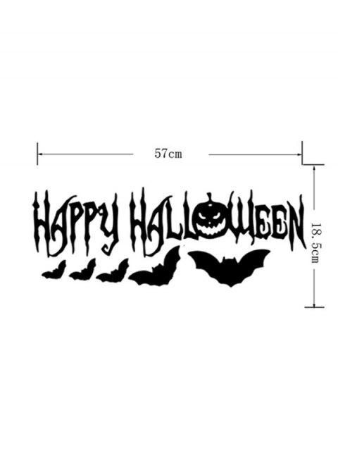 shop Room Decoration Wordart Happy Halloween Bat Design Vinyl Wall Sticker - BLACK  Mobile