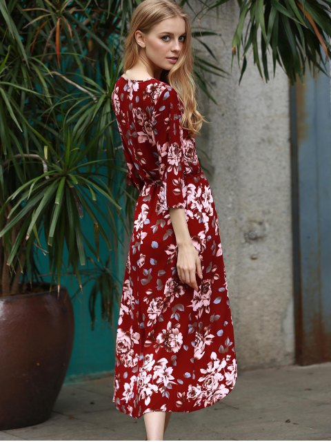 women Floral Print Plunging Neck 3/4 Sleeve Dress - WINE RED M Mobile