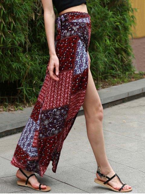 shop Ethnic Print High Waist High Low Skirt - COLORMIX M Mobile