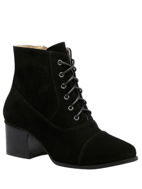 buy Suede Square Toe Chunky Heel Boots - BLACK 37 Mobile