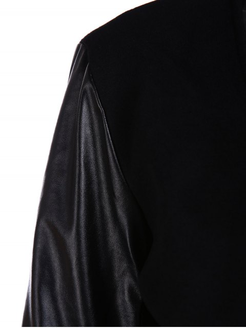 lady Open Front PU Leather Sleeve Trench Coat - BLACK 2XL Mobile