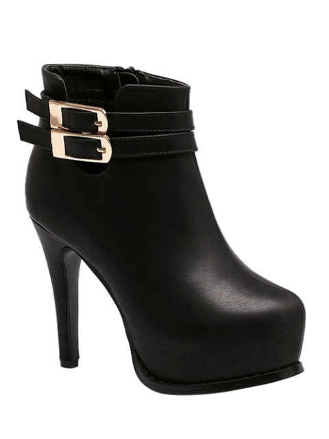 best Double Buckle Stiletto Heel Ankle Boots - BLACK 38 Mobile