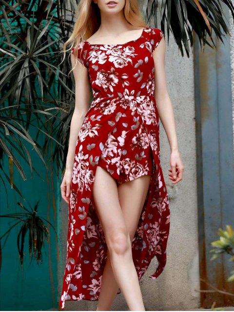 buy Floral Off The Shoulder Short Sleeve Playsuit - WINE RED XL Mobile