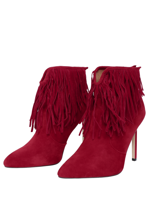 womens Fringe V-Shape Zipper Ankle Boots -   Mobile