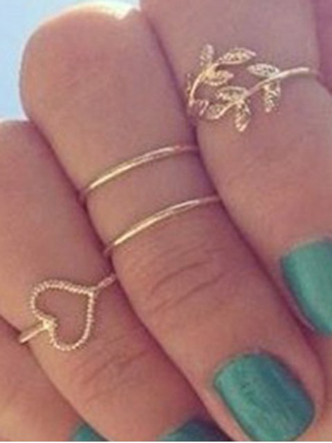 shops Heart Leaf Alloy Rings - GOLDEN ONE-SIZE Mobile