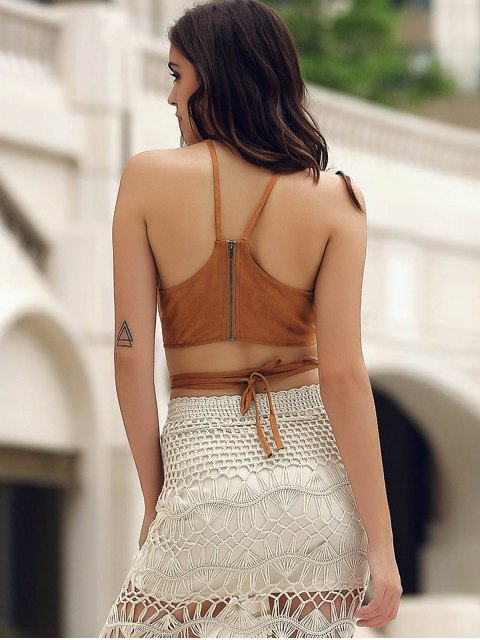 lady Suede Lace Up Criss Cross Crop Top - BROWN S Mobile