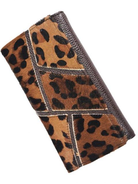 Splicing gaufrage en cuir PU Wallet - Léopard  Mobile