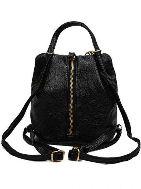 affordable Solid Color Chains PU Leather Satchel - BLACK  Mobile